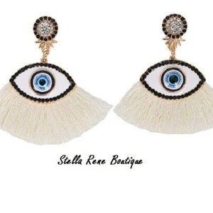 Womens Large Evil Eye White Fringe Earrings